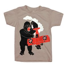 KIDS Gorilla T-shirt - Boy Girl Youth Children Plane Tee Shirt Awesome Monster NYC NY New York Ape Organic Cotton Airplane Biplane Tshirt by GnomEnterprises on Etsy https://www.etsy.com/listing/180028724/kids-gorilla-t-shirt-boy-girl-youth