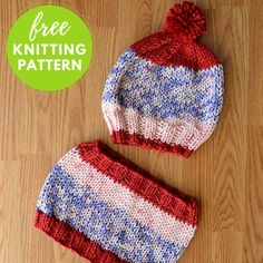 USA Hat and Cowl Free Knitting Pattern