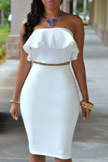 Ruffled Tube Top + High-Waisted Pencil Skirt Twinset
