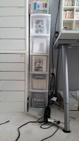 I think it's time for a craft room update. A few months ago, we had the great 'domino effect' furniture move. My son needed a desk, so we mo. Craft Room Organisation, Small Space Organization, Paper Organization, Craft Storage, Organizing, Scrapbook Storage, Scrapbook Organization, Rubber Stamp Storage, Craft Room Tables