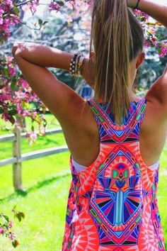 Neon Tribal Print Sleeveless Dress