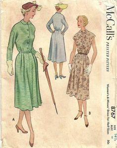 Vintage 50s Half Size Sewing Pattern McCalls 8767 Dress