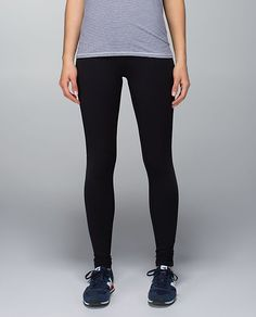 """Lululemon Wunder Under Pant*Roll Down, designed for: yoga, gym, to-and-from, fabric(s): Full-On Luon®, LYCRA®, fit: tight, rise: high or low - you decide!, inseam: 30.5"""", black"""
