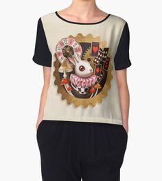 """Bunny Time"" Chiffon Tops by Sandra Vargas #whiterabbit #steampunk #designerchiffontop"