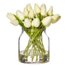 White Faux Mini Tulip in Barrel Vase