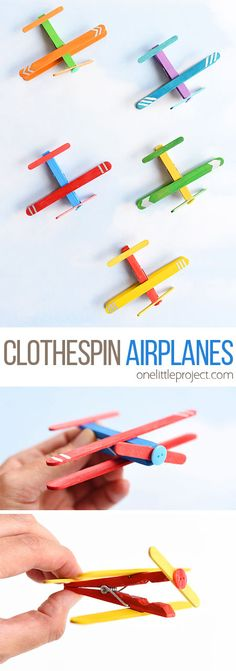 These clothespin airplanes are SO CUTE and they're really easy to make using clothespins and craft sticks (popsicle sticks). This is such a fun kids craft and a great craft for a rainy day! They look like real airplanes and the clothespins even open and c Crafts For Kids To Make, Crafts For Teens, Projects For Kids, Crafts For Rainy Days, Fun Things For Kids, Arts And Crafts For Kids Toddlers, Art Projects, Rainy Day Activities For Kids, Easy Toddler Crafts