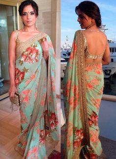 Floral Saree Cannes 2015