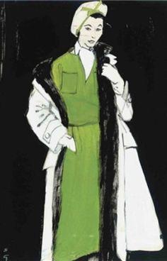 Illustration by René Gruau, 1957, Christian Dior, gouache and ink.