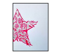 Tribal ink Star illustrated Red & silver art by 7RayedDesigns