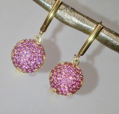 Pink Topaz Pave Earring Minimalist Dangle Gold by DoolittleJewelry