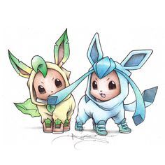 Eevee in Leafeon and Glaceon onesies ♡