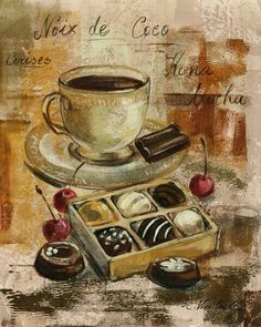 Ilustraciones para la cocina 2 Still lifes with chocolate. For decoupage . Discussion on LiveInternet - Russian Service of Online Diaries you can fin. Decoupage Vintage, Coffee Art, I Love Coffee, Coffee Break, Coffee Time, Vintage Labels, Vintage Cards, Vintage Pictures, Vintage Images