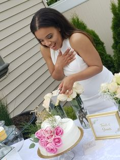 Bride | Swank Bride | Blush Pink Bridal Shower | outdoor Shower | dessert table |  cake | cake with flowers | flowers | white flowers | Bridal Shower | pink dessert table | Stacy Armand | Stacyarmand events |