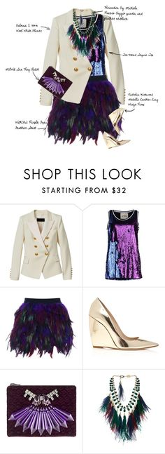 """""""Peacocking"""" by fashionscribbles ❤ liked on Polyvore featuring Balmain, TeeTrend, WithChic, Nicholas Kirkwood, Mawi, Rosantica, metallic, rocker, feather and Sequins"""