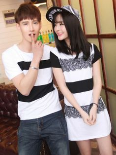 Korean style female dress and male shirt couples