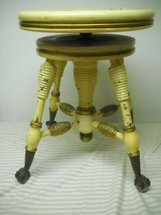 Antique Piano Stool Cast Metal Base Tonk Vintage Decor