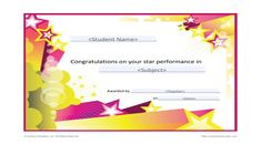 Recognize a student's accomplishments in a specific subject or their year-long success with this star performance award. This printable award is customizable. Personalize it with the student's name and award details before printing. Certificate Of Recognition Template, Free Printable Certificates, Award Certificates, Certificate Templates, Kids Awards, Teacher Awards, Student Awards, Stars Classroom, Classroom Posters