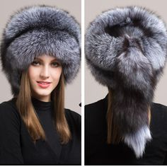 c04d64961aa Russian Fox Fur Hat Furry Cap w Fox Fur Tassel. Thick Chick Treasures