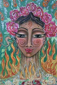Flame Fairy   Artist  Maya Telford   Medium  Painting - Acrylic On Canvas   Description  beloved divine feminine energy present in the element of fire