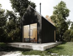 A Modern Cabin For You & Guests Looking for something a bit bigger than your standard tiny house? The Walden 240 (sq. feet) adds extra room to the livin. Modern Tiny House, Tiny House Plans, Tiny House Design, Modern House Design, Modern Cottage, Loft Design, Building A Cabin, A Frame Cabin, Cabin Kits