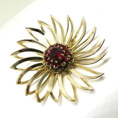 Red Floral Brooch - Vintage, Sarah Coventry Signed, Gold Tone, Ruby Red Rhinestones, Open Work Flower Pin by MyDellaWear on Etsy