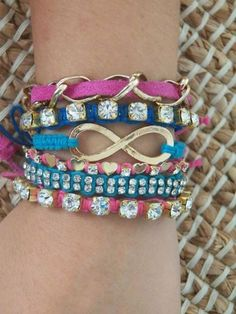 colorful bracelets with the infinity sign. i am so obessed with infinity signs! <3 love this braclet!!