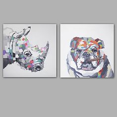 Hand-Painted Abstract / Animal 100% Hang-Painted Oil PaintingModern / Classic One Panel Canvas Oil Painting For Home Decoration 5390623 2017 – $112.79