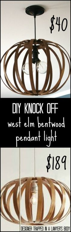 MUST PIN! Totally genius idea for making a West Elm knock off Bentwood Pendant light. Full tutorial by Designer Trapped in a Lawyer's Body. ...