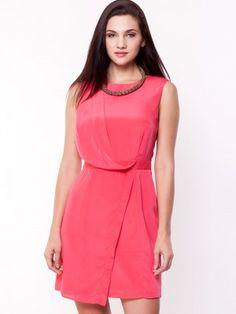 4763224485500 KOOVS Zip Back Drape Wrap Dress Dress India, Online Dress Shopping, Dresses  Online,