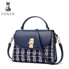 e4490fbde FOXER Brand Lady Soft Patchwork Split Leather Shoulder Bag & Crossbody Bag  Women Lattice Fashion Flap
