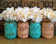Set de 4 bocaux Mason de pinte, pots à billes, peint les pots Mason, Vases à fleurs, centres de mariage rustique, Turquoise et corail en pots Mason