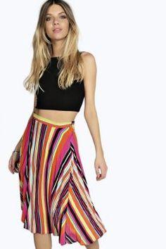Mary Multi Colour Stripe Pleated Midi Skirt
