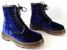 I like to sing Blue Velvet RARE Vtg Doc Dr Martens Boots UK 5 US 7 7 5 Blue Crushed Velvet w Green   eBay