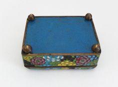 Vintage Cloisonné Cigarette Box and Match Holder with Floral Motif 6