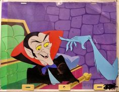 Groovie Ghoulies Cartoon Animation Production Cel w/Hand painted Back ground (1970)
