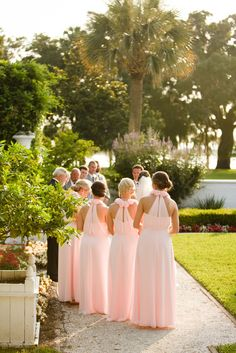 Pink Bridesmaids - Bari Jay Standing behind and not right next too. Bridesmaid Ideas, Bridesmaid Flowers, Bridesmaid Dresses, Pale Pink Bridesmaids, Wedding Bridesmaids, Wedding Dreams, Dream Wedding, Bari Jay, Honeymoon Ideas