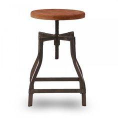 45cm Industrial Swivel Stool Wood Seat, Made from steel metal with willow wood seat