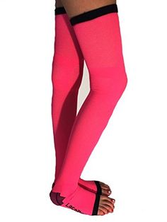 a6e800739 Lace Poet Neon Pink Yoga Sleep Thigh-High Compression Toeless Socks