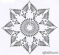 Crochet Snowflake + Free Pattern Step By Step + Diagram Crochet Snowflake Pattern, Crochet Stars, Crochet Doily Patterns, Crochet Snowflakes, Crochet Mandala, Crochet Diagram, Crochet Granny, Irish Crochet, Crochet Doilies
