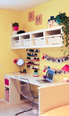 A Yellow Bedroom Makeover Ft Adelaine Morin Yellow Room Yellow Room Decor, Diy Room Decor, Bedroom Decor, Home Decor, Bedroom Ideas, Bedroom Wall, Dream Rooms, Dream Bedroom, Girls Bedroom