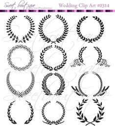 Laurels and Floral Wreathes and Boarders Digital Clip Art 0314