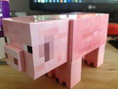 papercraft minecraft pig printable template