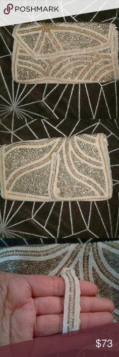 Imported From Abroad Antique Art Deco Crochet Jet Black Fringe Mirror Reticule Fringe Bead Purse Art Deco Vintage