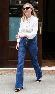 White blouse Denim Flare jeans