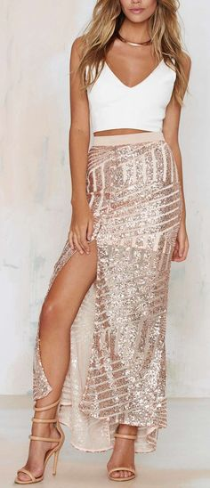 Blush Sequin Maxi Skirt. White tops and pale heels sandals. Fashion trends.