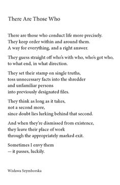 There Are Those Who - Wislawa Szymborska