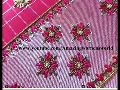 Hand Embroidery Videos, Hand Embroidery Tutorial, Hand Embroidery Flowers, Hand Work Embroidery, Peacock Embroidery Designs, Bead Embroidery Patterns, Beaded Embroidery, Hand Work Design, Hand Work Blouse Design