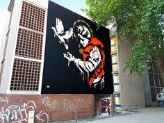LADY REFUGEE by Goin for the Grenoble Street Art Fest in Grenoble, France.