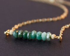 SALE Raw Emerald Necklace - Green Emerald Jewelry - 14K GF, May Birthstone