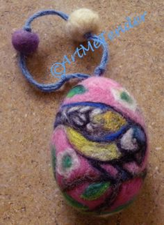 Needle Felt Easter egg bird flowers soft wool by artmetender, $19.00